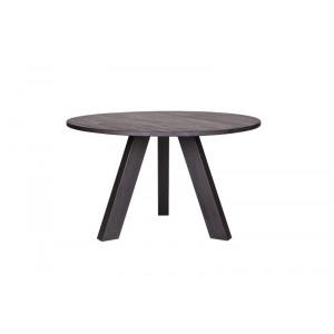 Tisch rund schwarz Massivholz,  Esstisch rund schwarz Eiche massiv, Durchmesser 129 cm