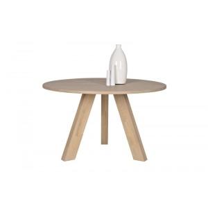 Tisch rund  Massivholz,  Esstisch rund Eiche Natur massiv, Durchmesser 129 cm