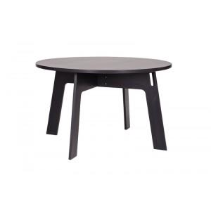 Tisch schwarz rund Massivholz,  Esstisch rund schwarz massiv, Durchmesser 129 cm