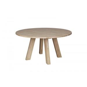 Tisch Natur-Eiche rund Massivholz,  Esstisch rund Massivholz, Durchmesser 150 cm