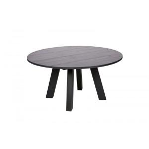 Tisch schwarz rund Massivholz,  Esstisch Eiche massiv rund schwarz, Durchmesser 150 cm
