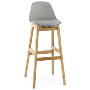 Barstuhl grau Holzbeine, Tresenhocker Kunststoff Holz, Sitzhöhe 79 cm