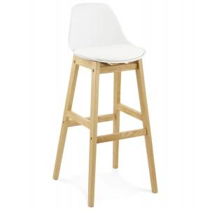 Barstuhl weiß Holzbeine, Tresenhocker weiß Kunststoff Holz, Sitzhöhe 79 cm