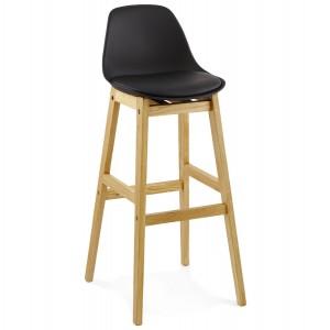 Barstuhl schwarz Holzbeine, Tresenhocker schwarz Kunststoff Holz, Sitzhöhe 79 cm