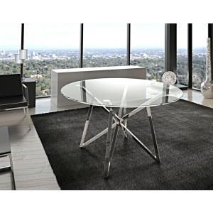 Runder Esstisch Glas Metall, Tisch rund verchromt, Glastisch rund, Durchmesser 120 cm