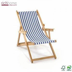 Liegestuhl gestreift aus Massivholz und Textil 100 % Baumwolle, Strandstuhl Farbe blau-weiß