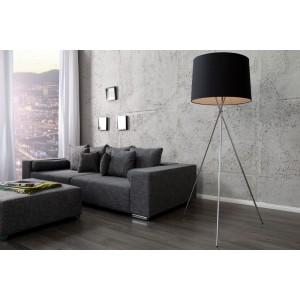 Stehleuchte schwarz-silber mit Lampenschirm schwarz, Stehlampe mit schwarzen Lampenschirm