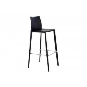 Barstuhl schwarz Leder,  Leder Barhocker schwarz, Sitzhöhe 76 cm
