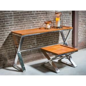 Wandtisch Chrome-Leder, Konsolentisch, Konsole Farbe Braun, Breite 150 cm