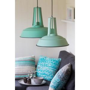 Hängelampe türkis-grün im Industriedesign, Pendelleuchte grün Landhausstil, Durchmesser 42 cm