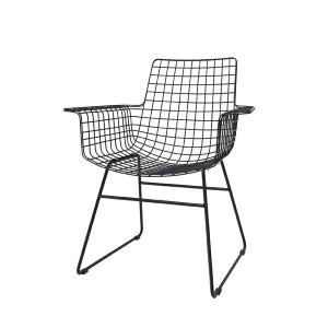 Stuhl Metall schwarz, Esszimmerstuhl schwarz, Stuhl mit Armlehne Metall