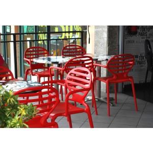 Gartenstuhl rot Kunststoff, Stuhl mit Armlehne rot für den Garten