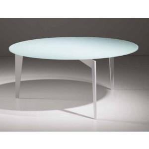 Couchtisch weiß Glasplatte Metallgestell, Durchmesser 80 cm