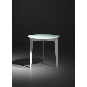 Beistelltisch weiß Glas-Metall,  Couchtisch weiß Glasplatte Metallgestell, Durchmesser 50 cm