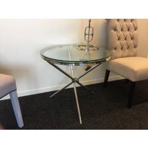 Beistelltisch rund silber Glas-Metall, Tisch rund verchromt Metall und Glas, Durchmesser 69 cm