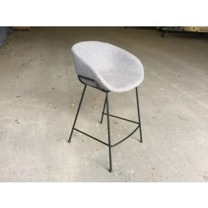 Barstuhl gepolstert Metall-Gestell, Barstuhl grau, Sitzhöhe 76 cm