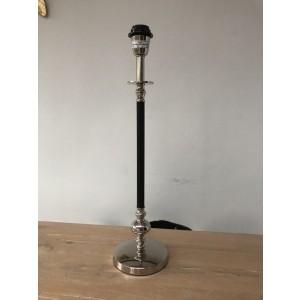 Lampenfuß Tischleuchte verchromt-schwarz, Tischlampe schwarz-Silber, Tischleuchte schwarz-Silber, Höhe 57 cm