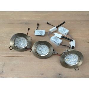 LED Strahler, 3er Set, LED Deckenleuchte weiß, LED Einbauleuchte weiß oder Silber, Durchmesser 10,5 cm