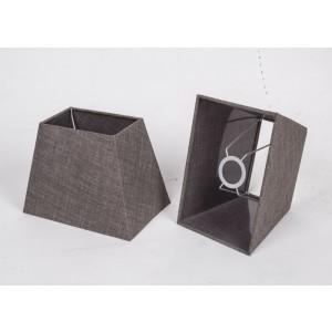 Lampenschirm rechteckig, Farbe Braun-Grau, Maße 16 x 24 cm