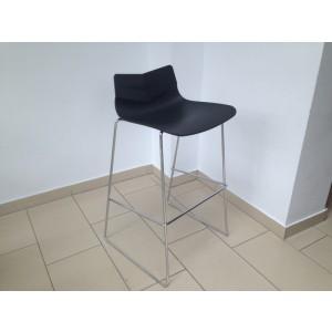 Barstuhl schwarz verchromtes Gestell, Barhocker silber schwarz, Sitzhöhe 75 cm