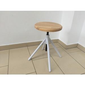 Hocker weiß verstellbar im Industriedesign, Sitzhöhe 41-62 cm