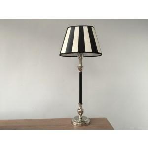 Tischleuchte mit Lampenschirm schwarz weiß,  Tischlampe schwarz-verchromt, Höhe 55 cm