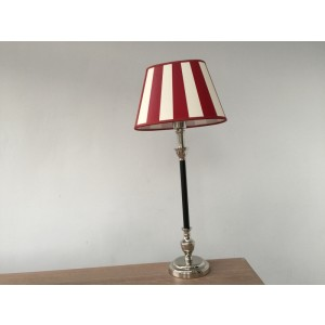 Tischleuchte mit Lampenschirm rot weiß,  Tischlampe schwarz-verchromt, Höhe 55 cm