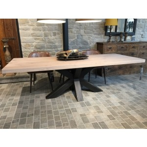 Esstisch Eiche Tischplatte, Tisch Eiche-Tischplatte Industriedesign,  Tischgestell aus Metall, Maße 180 x 90 cm