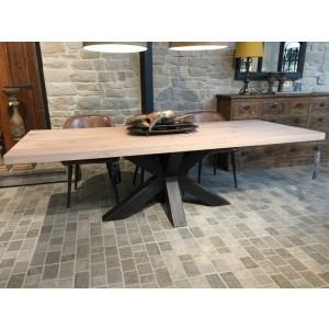 Esstisch Eiche Tischplatte, Tisch Eiche-Tischplatte Industriedesign,  Tischgestell aus Metall, Maße 220 x 100 cm