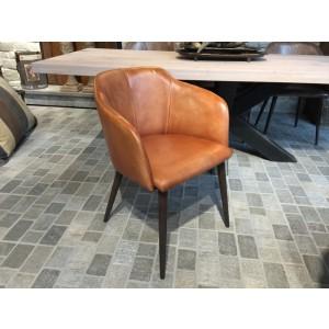 Stuhl cognac Echt-Leder-Bezug, Stuhl gepolstert Echtleder