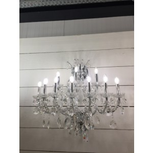 Wandleuchte Silber 10 armig, Wandlampe Silber-Glas, Breite 83 cm