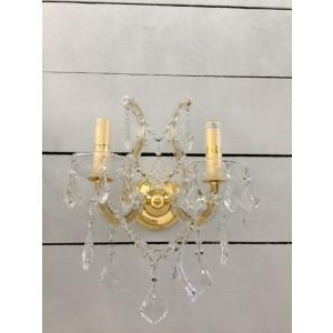 Kristall Wandleuchte Gold 2 armig, Wandlampe Gold-Glas, Breite 35 cm