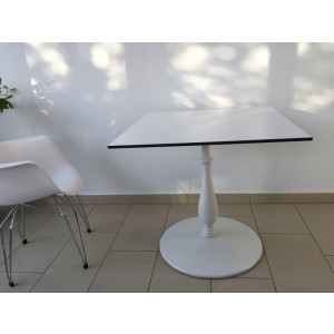 Bistrotisch weiß, Esstisch Metall, Tisch Tischplatte weiß, Maße 80x80 cm