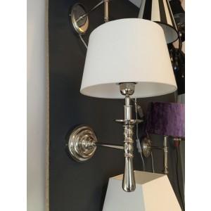 Wandleuchte verchromt, Farbe silber weiß, Wandlampe mit Lampenschirm weiß