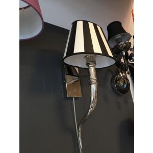 Wandleuchte verchromt, Farbe silber weiß-schwarz, Wandlampe mit Lampenschirm