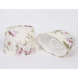 Lampenschirm oval für Tischleuchte, Lampenschirm weiß-blumig, Durchmesser 25 cm