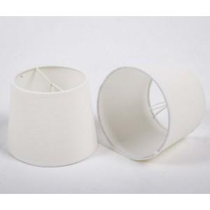 KIemmschirm weiß, Aufsteckschirm weiß, Lampenschirm für Kronleuchter, Form rund Ø 15 cm