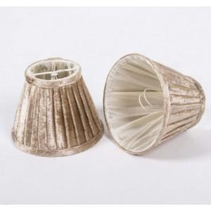 KIemmschirm beige, Steckschirm Velour für Kronleuchter, Form rund Ø 13 cm