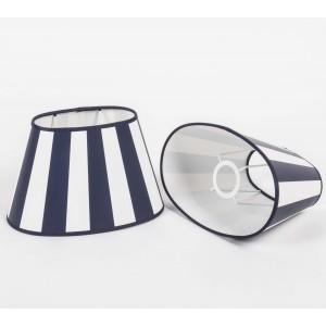 Gestreifter Lampenschirm, oval 25 cm, Farbe blau-weiß