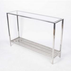 Wandtisch verchromt mit Glasplatte, Konsolentisch, Konsole, Farbe Silber, Breite 120 cm