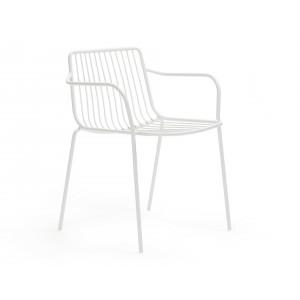 Stuhl weiß mit Armlehne Metall stapelbar, Gartenstuhl weiß Metall mit Armlehne