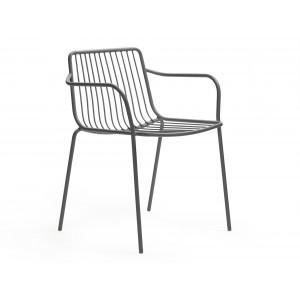 Stuhl grau mit Armlehne Metall stapelbar, Gartenstuhl grau Metall mit Armlehne