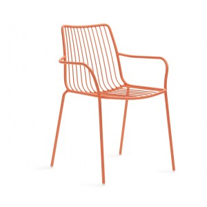 Stuhl orange Metall mit Armlehne stapelbar, Gartenstuhl mit Armlehne orange Metall
