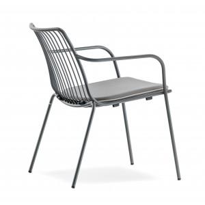 Sessel grau Metall mit Armlehne stapelbar, Garten - Sessel Lounge aus Metall, Sessel Outdoor grau