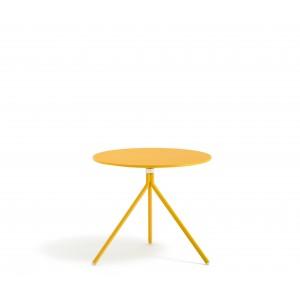 Beistelltisch rund gelb Metall, Mettaltisch rund gelb, Tisch klappbar Metall, Durchmesser 65 cm