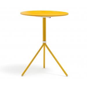 Bistrotisch rund gelb Metall, Mettaltisch rund gelb, Tisch klappbar Metall, Durchmesser 65 cm