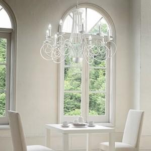 Kronleuchter weiß 5 Flammig, Leuchter weiß Landhaus, Durchmesser 55 cm