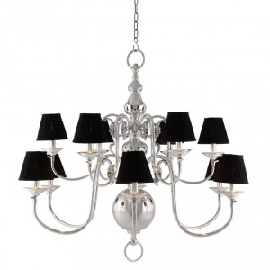 Kronleuchter verchromt 12 flammig mit  Lampenschirmen, Hängelüster silber, Kronleuchter mit Lampenschirmen, Durchmesser 115 cm