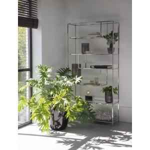 Regal verchromt Glas Metall, Bücherregal Metall Silber, Breite 100 cm