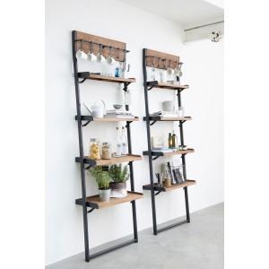 Wandregal Industrie, Regal Industrie Holz Metall, Bücherregal Industriedesign Metall, Breite 70 cm